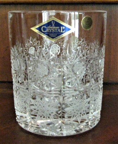Bohemian Czech Vintage Crystal Tumbler Whisky Glass 320 ml set 6 Hand Queenlace