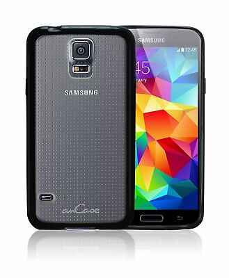 Samsung Galaxy S5 amCase Protective Hybrid Back Bumper Phone Case/Cover (Black)