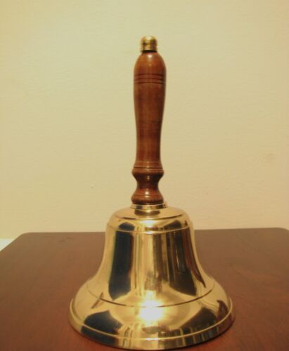 Large Vintage Look Wide Bottom Gold School Bell. 8 inches tall. Wooden Handle.