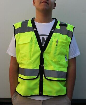 Superintedent Surveyor Class 2 Safety Vest Lime Small To 2-xl -free Shipping