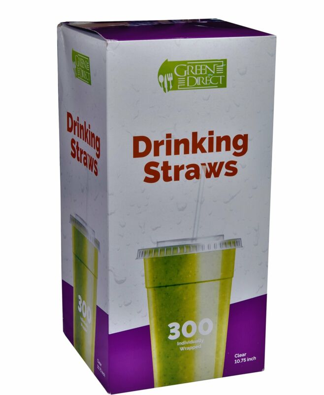 Plastic 10.75 inch Clear Disposable Drinking Straws By Green Direct Pack of 300