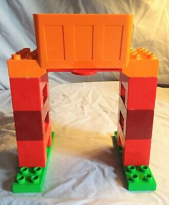 Lego Duplo train orange & red cargo freight loading tower good used condition 2