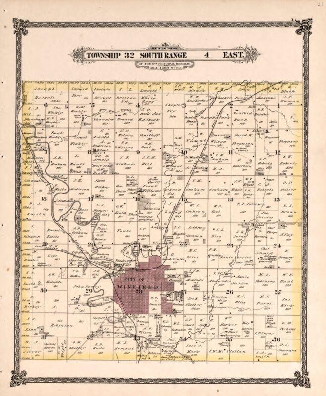 1882 Atlas COWLEY COUNTY plat maps KANSAS GENEALOGY history Land DVD P75