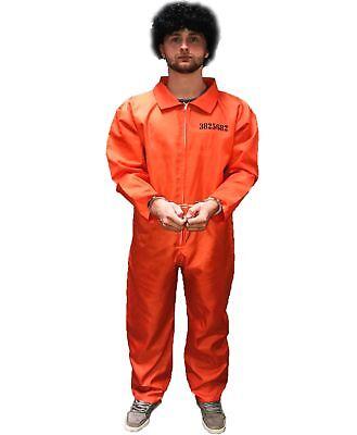 Herren Orange Gefangene Halloween Kostüm Vierstreifen-Overall Junggesellen Party ()