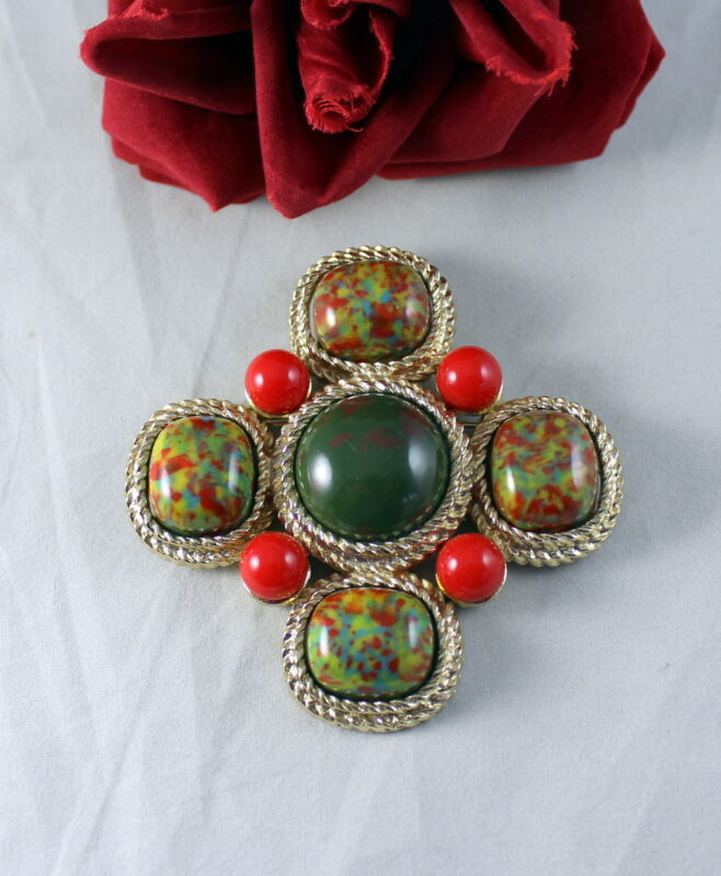 """Vintage Sarah Coventry Red Green Faux Marble 3 """"  Pin  Brooch  CAT RESCUE"""