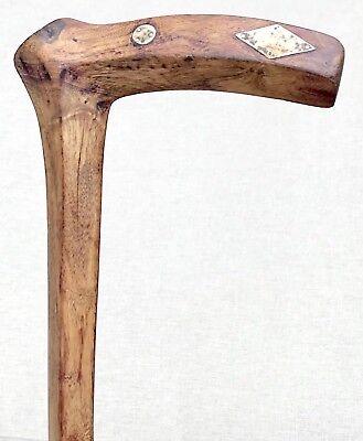 - Vintage Antique Quadrilateral Shaft Sterling Silver Inserts Walking Stick Cane