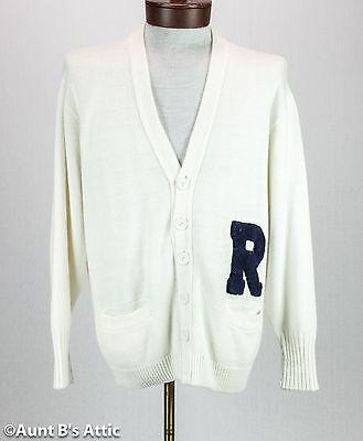 Men's 50's Kostüme (Varsity Letterman Sweater Men's Wht Acrylic Cardigan 50's Style Costume Sweater)