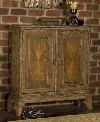 (Distressed Narrow Console Cabinet Plantation Grown Mahogany Wood)
