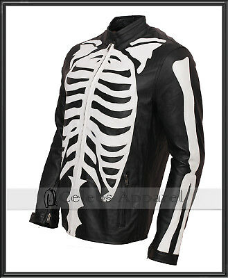 Mens Fashion Biker Skeleton Bones Leather Jacket Halloween Costume