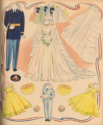 VINTGE UNCUT 1941 BRIDE GROOM MILITARY PAPER DOLL 12 PG~LASER REPRODUCTIN LO PR~
