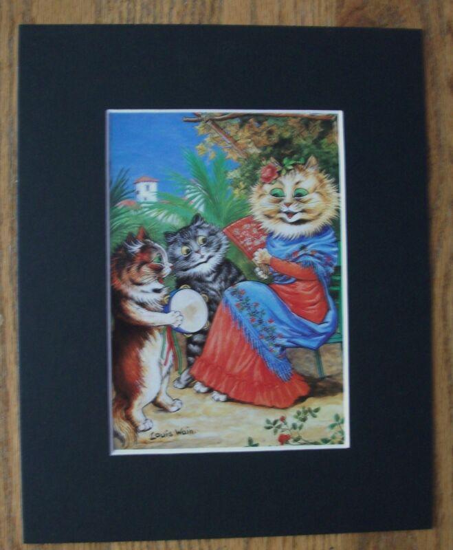 Cat Print Louis Wain Serenade Senorita Colored Bookplate Kitten 1983 8x10 Matted