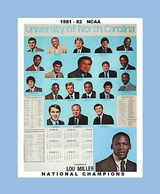 1982 Tar Heels - UNC TAR HEELS 1982 BASKETBALL CHAMPS MATTED PHOTO OF SCHEDULE CALENDAR POSTER