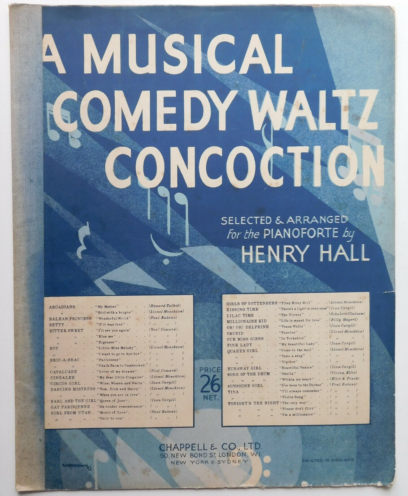 Vintage sheet music piano A Musical Comedy Waltz Concoction 1930s Henry Hall