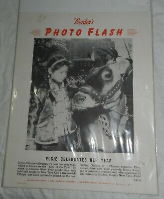 Vintage Borden's Employee Bulletin Board Poster Elsie the Cow Photo Flash, 1961