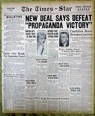 BEST 1938 headlin display newspaper President Franklin D Roosevelt NEW DEAL