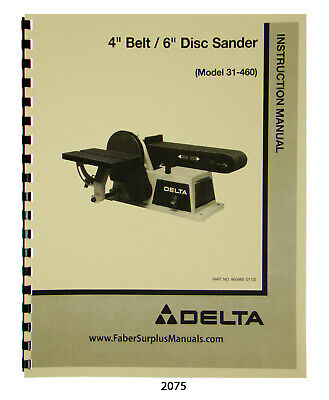 Delta Oscillating Edge Sander Model 31-396 Instruction Parts List Manual 2075