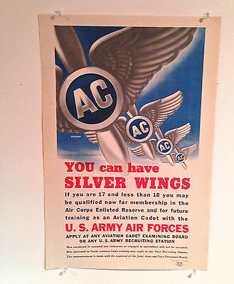 """ORIGINAL WWII """" You Can Have Silver Wings"""" AAF Army Air Corps Fischer WW2 Poster"""