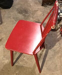 Red Wooden Farmhouse Industrial Danish Retro Chairs