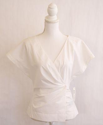 DONNA KARAN Collection Wrap Shirt Blouse Women's Career Sz 10 L White Cotton NWT