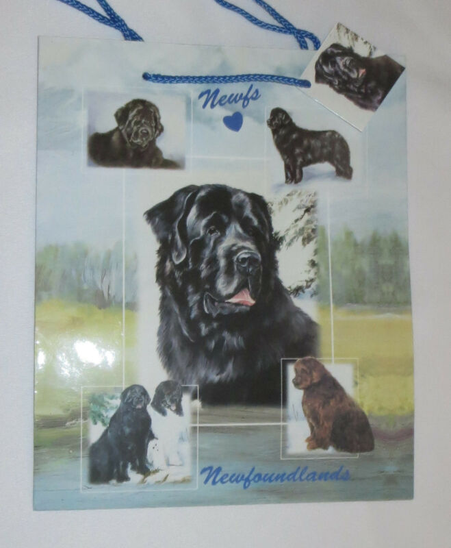 Newfoundlands Gift Bag Dogs Present Handles Blue Tag Best Friend New Newfie