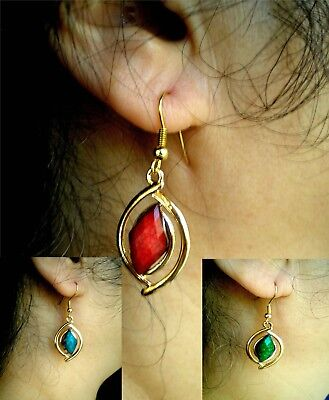 Beautiful Pair of Rose Gold Agate Earrings - Blue, Green, Red