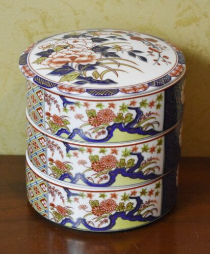 Imari Jubako Japanese Shibata 3 Tier Porcelain Dish with Lid