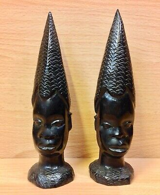 South African Native Hardwood Carvings Pair of Conical Head Figures 7