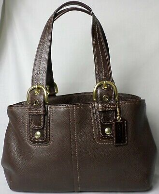 Coach F11844 Chocolate Brown Pebbled Leather Gold Purse Satchel Shoulder Bag Exc