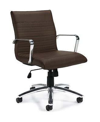 Lot Of 8 Brown Mid Back Luxhide Ribbed Conference Table Chairs