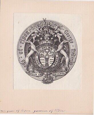 ✒ EX LIBRIS Marquis of Ripon George Frederick Angleterre armorié