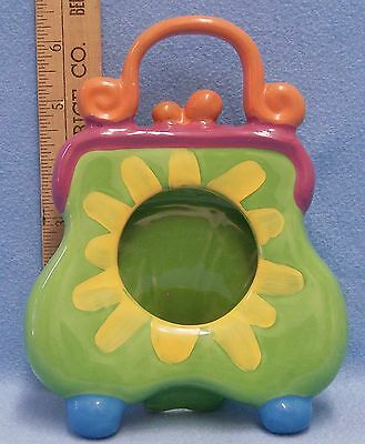 Purse Picture Frame Ceramic Funky Bright Colors Green Orange Blue Yellow Purple Bright Yellow Picture Frame