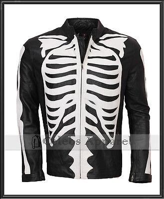 Mens Biker Black Fashion Skeleton Bones Leather Jacket Halloween Costume