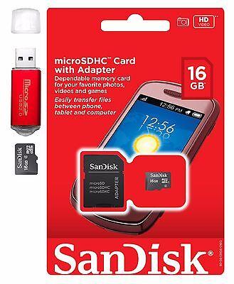 SanDisk MicroSD HC 16GB 16G Micro SD Flash Memory Card w Adapter Red Card -