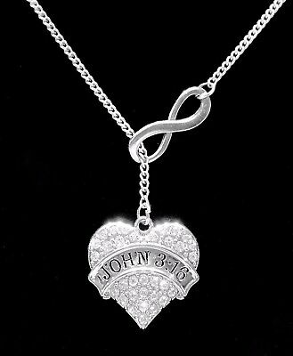 Christian Necklace John 3:16 Bible Scripture Faith Gift God Lariat Jewelry