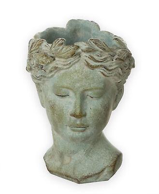 Antik Büste Frau Kopf Übertopf Blumen Pflanz Topf Garten Gefäß Figur Statue Deko