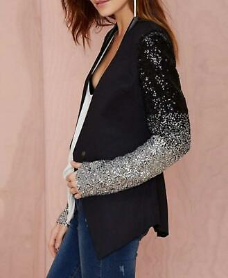 Edgy Black Sequin Business Casual Long Sleeve Office Blazer Jacket