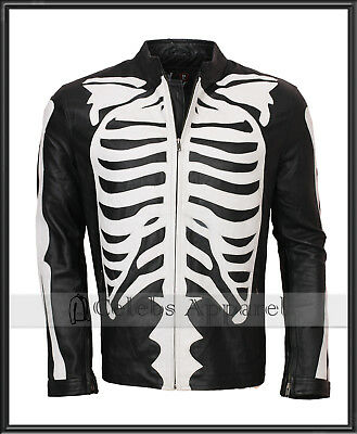 Mens Biker Black Fashion Skeleton Bones Leather Jacket Halloween Costume - SALE