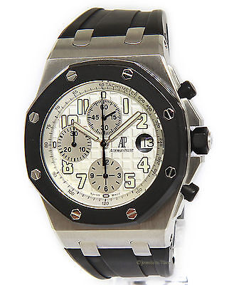 $13295.25 - Audemars Piguet Mens Royal Oak Offshore Chronograph RubberClad Steel Watch 25940