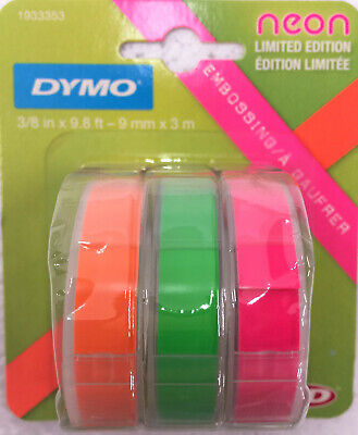Dymo Self-adhesive Glossy Labeling Tape For Embossers0.37 X 9.8 Ft Rolls Neon