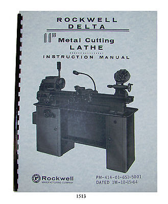 Rockwell 11 Metal Lathe Instructparts Manual Early Sn138-9100 Below 1513