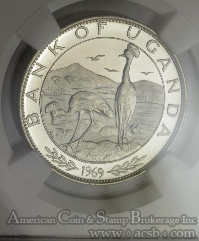 Uganda 5 Shillings 1970 PR65 UCAM NGC silver KM#9 7670 Mintage Paul VI Scarce