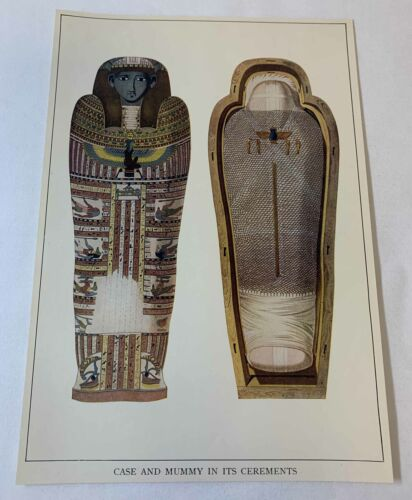 1923 book leaf print~ CASE AND EGYPTIAN MUMMY IN ITS CEREMONTS