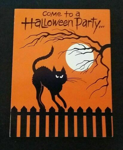 Vintage *UNUSED* Halloween Invitation: Mad Black Cat On Fence  *1970