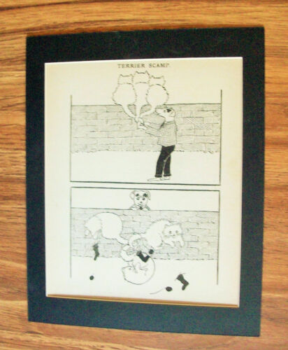 Print Dog Cat Terrier Scamp Ties White Cats Tails 1930s Bookplate 8x10 Matted