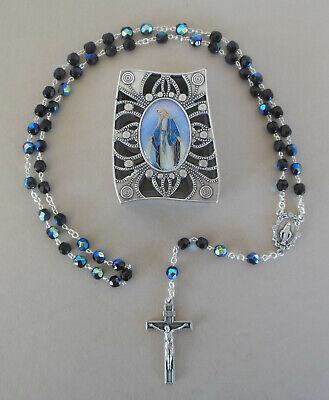 Rosenkranz Kommunion Junge schwarz schimmernde Perlen Schatulle Madonna RL 810 810 Rosen