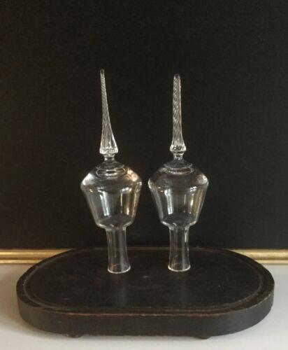 2 Vtg Victorian free blown glass Xmas TREE TOPPER finial s mantle ornament rare