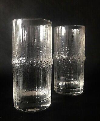 Tapio Wirkkala Niva 14cm Highball Textured Glass x 2 Iittala Finland