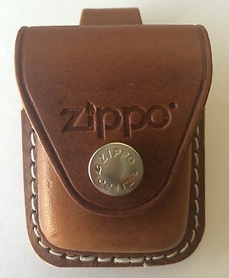 Zippo Brown Leather Lighter Pouch With Belt Loop, LPLB, New
