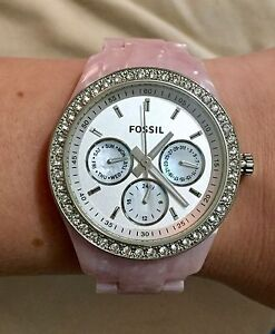 Fossil Stella White Crystal Silver Dial Pink Pearlized Resin