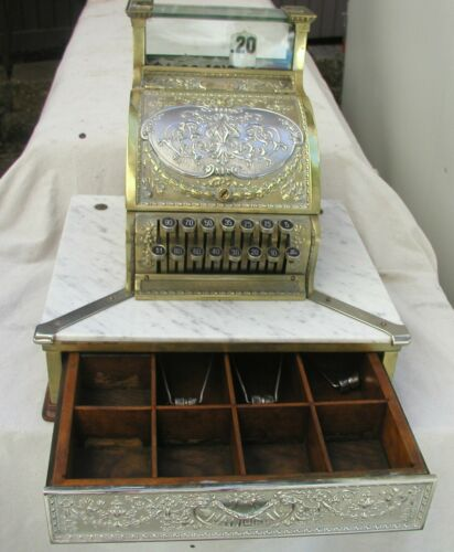 """1913 CANDY STORE NATIONAL CASH REGISTER AND """"MARBLE ISLAND""""-STUNNING/WORKS"""